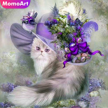 MomoArt Cat Diamond Painting Animal Mosaic Full Square Drill Picture Of Rhinestone Embroidery Flowers