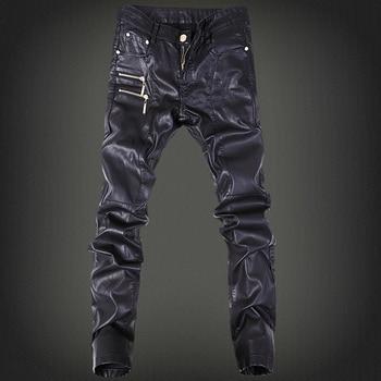 Spring and Autumn Male Leather Pants Personality Slim Motorcycle Leather Pants Male Leather Trousers Pantalon Hombre Men Clothes