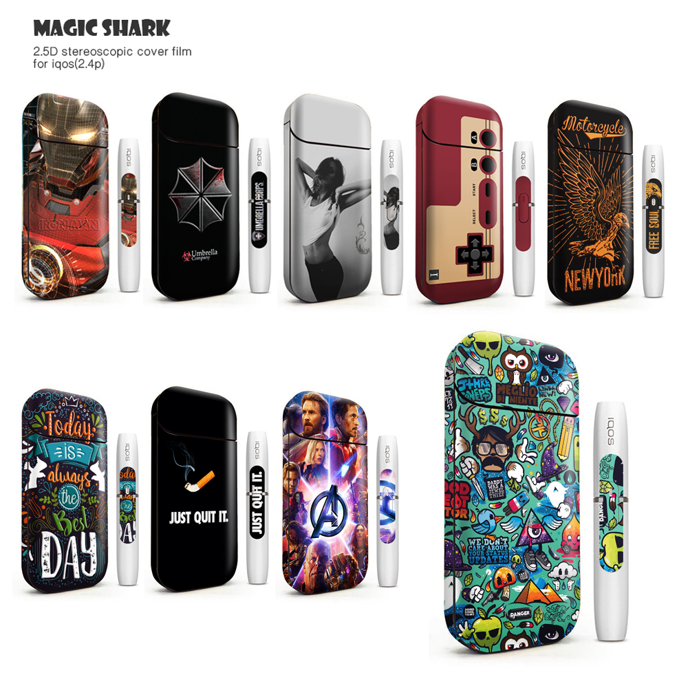 Magic Shark Colorful Sticker For IQOS 2.4 Plus Cover Sticker Skin Protection Stickers For IQOS Box Mod 2.4p Sticker Vape Case
