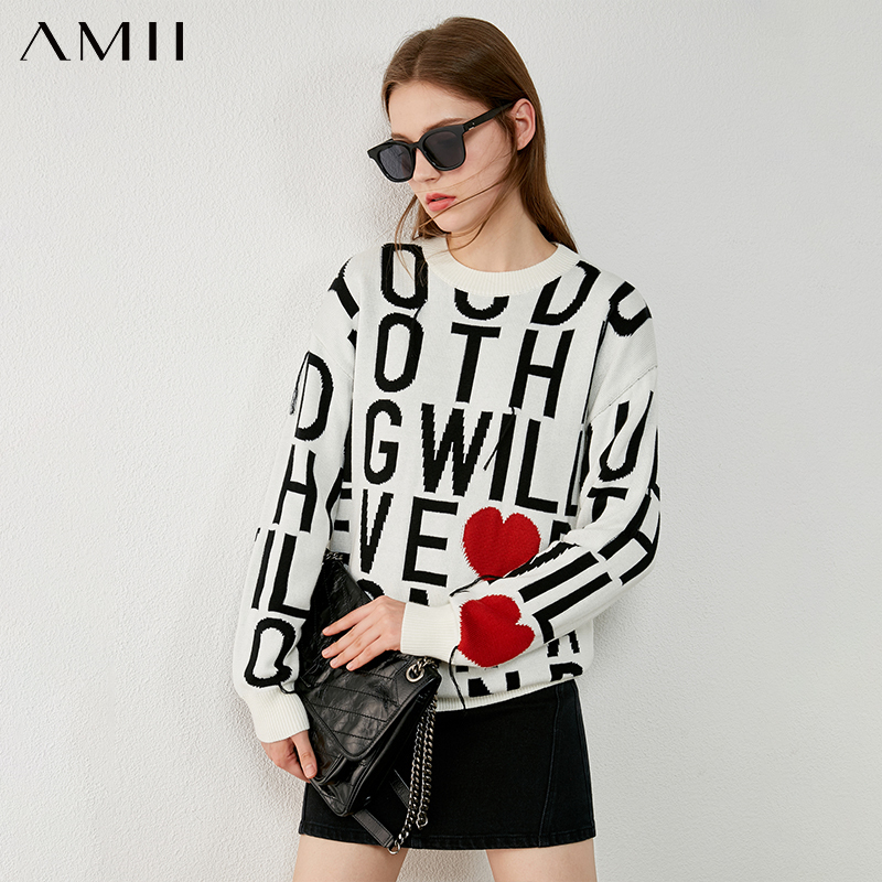 Amii minimalizm sonbahar kış kazak kadın moda boyun mektubu baskı gevşek kadın kazak kadın kazak Tops 12070525
