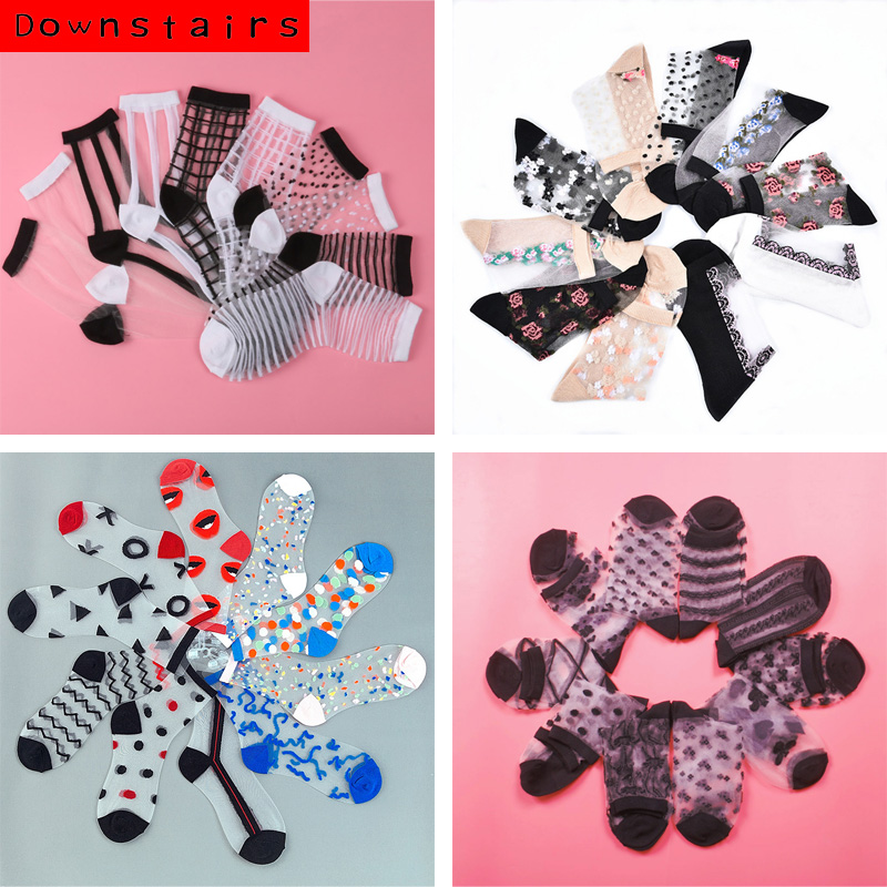 Downstairs 10Pairs 5 Selects Lot Lace Socks Women Korean Style Harajuku Crystal Silk Glass Colorful Sexy Thin Transparent Socks