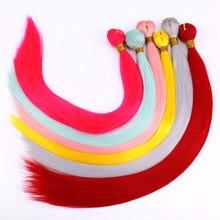 Cabelo sintético de alta temperatura, 22 polegadas 100 cor rosa amarelo verde vermelho feixes para mulheres negras