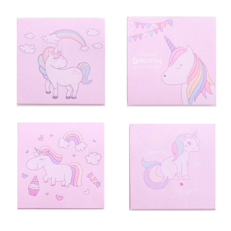 Kawaii Pink Unicorn Post Its Sticker Student Portable Note Book Message N Times Sticker School Supplies Stationery