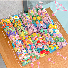 10PCS/Set Rainbow Cartoon Character Fruits Flower Nylon Elastic Hair Bands Women Girl Sweet Rubber Hair Tie Scrunchie Headwear