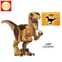 Juguetes de bloques de construcción de dinosaurio del Mundo Jurásico para niños, modelo individual L027 veloiraptor, oso Polar, Dilophosaurus, Pteranodon