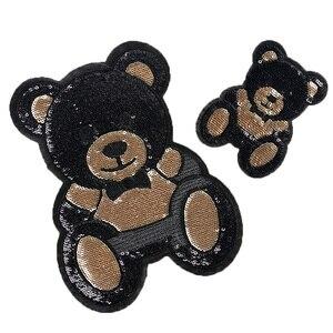 Цельнокроеное платье S/L Размеры в виде милого медведя с блестками вышитые наклейки детская заплатки отверстия нашивки одежда с вышивкой