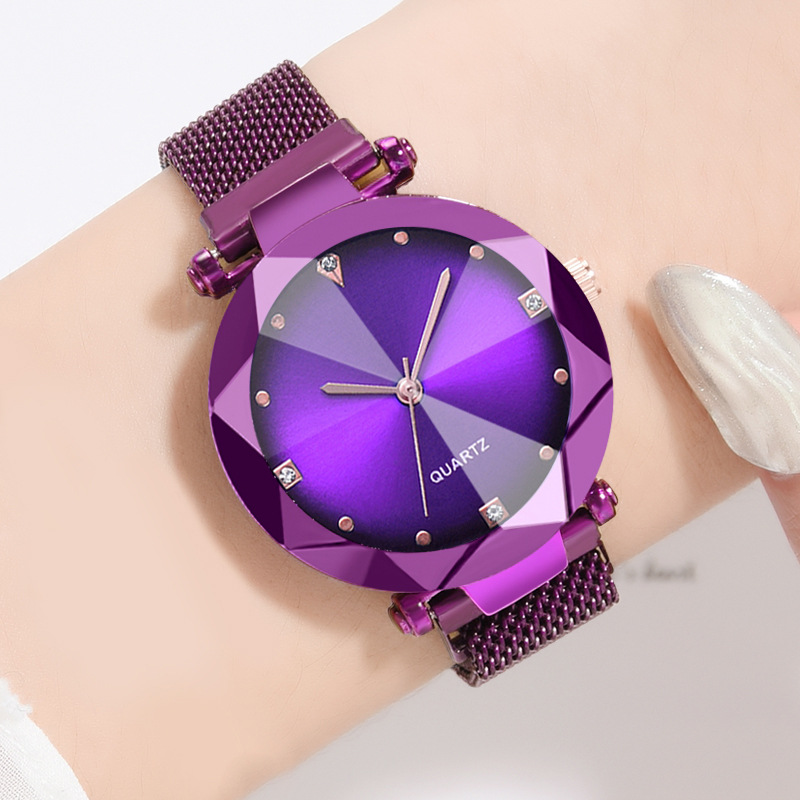 Best Selling Women Mesh Magnet Buckle Starry Sky Watch Casual Luxury Ladies Geometric Surface Quartz Watches Relogio Feminino