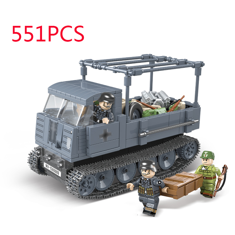 WW2 Military German Half Tracked Vehicle ROS/03 Building Blocks Legoing Technic Truck Soldier Weapon Bricks Toys For Children