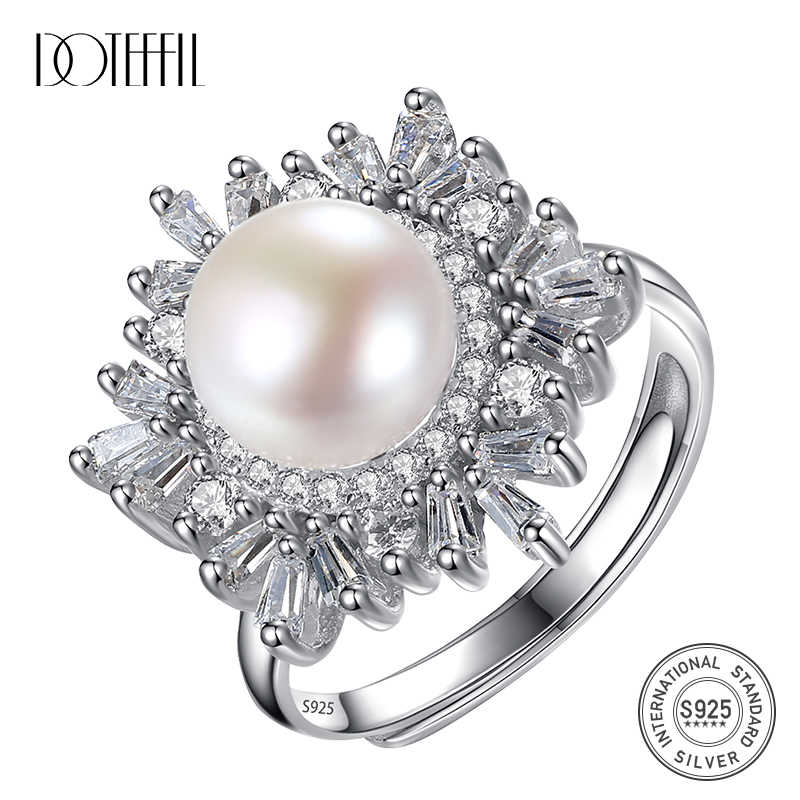 DOTEFFIL New 925 Solid Silver Zircon Inlay Ring Resizable 8.5MM Natural Freshwater Pearls Ring Jewelry Women Wedding Female Gift