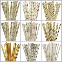 New 25pcs/lot Foil Gold Silver Paper Straws For Kids Birthday Wedding Decoration Party Event Supply Mickey Mouse Cupcake Flags