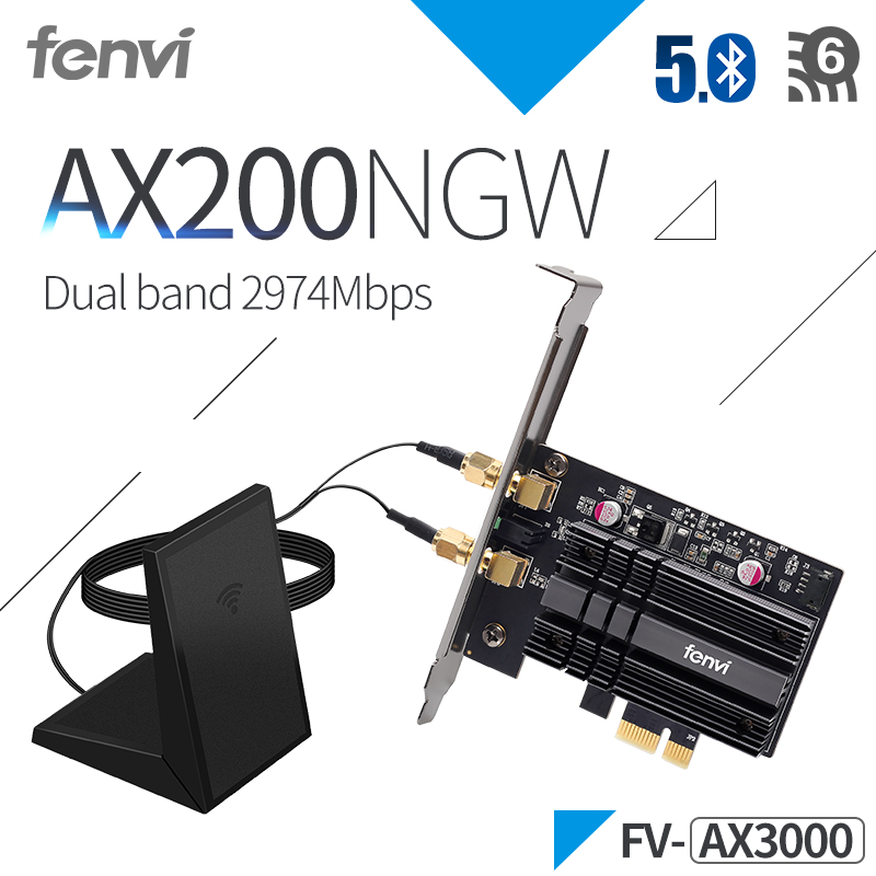 Pcie Network-Wifi-Card Desktop Dual-Band Intel Ax200 2400mbps Wi-Fi MU-MIMO Bluetooth 5.0