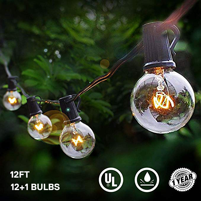 Led Globe Bulb String Lights With EU / US 12FT 25Ft G40 Clear Vintage Bulb Hanging Umbrella Patio Indoor/Outdoor String Lighting