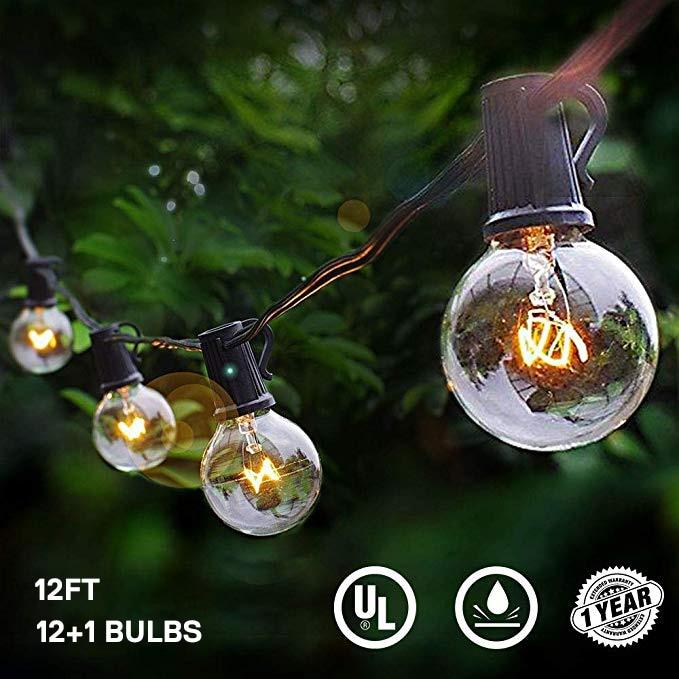 Led Globe Bulb String Lights With EU / US 12FT 25Ft G40 Clear Vintage Bulb Hanging Umbrella Patio Indoor/Outdoor String Lighting