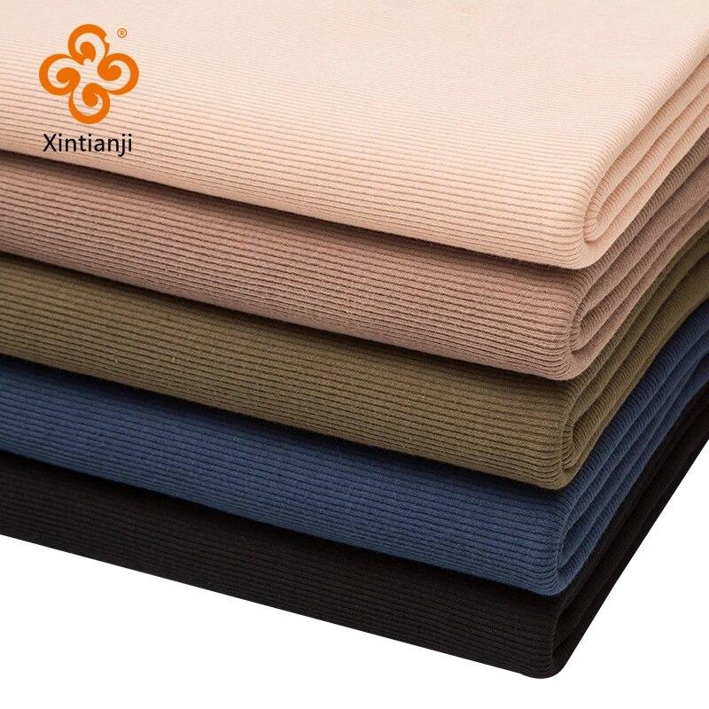 Тонкая хлопчатобумажная ткань в рубчик из спандекса 160 г/м2 для летних футболок и топов, эластичная трикотажная ткань манжета из ткани 0,25 m/0,5,...
