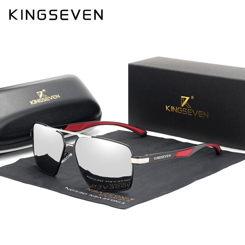KINGSEVEN-lunettes de soleil polarisées, marque, conception rouge, tempes, revêtement en aluminium, verres miroirs, 7719