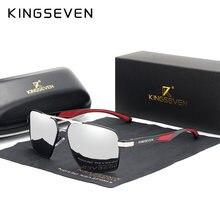 KINGSEVEN Aluminium Männer der Sunglasse Polarisierte Objektiv Marke Rot Design Tempel sonnenbrille Beschichtung Spiegel Gläser Oculos de sol 7719