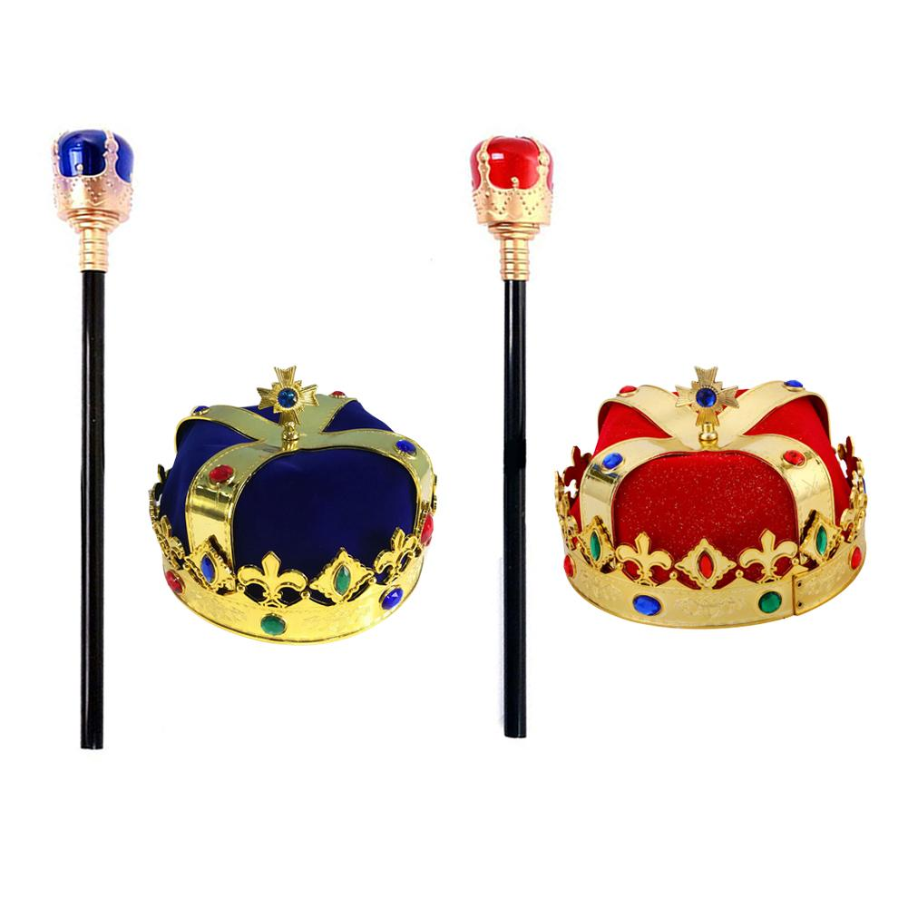 King Crown Scepter Hat Halloween Stage Show Masquerade Decoration Cosplay Props Emperor For Child Adult Birthday Party
