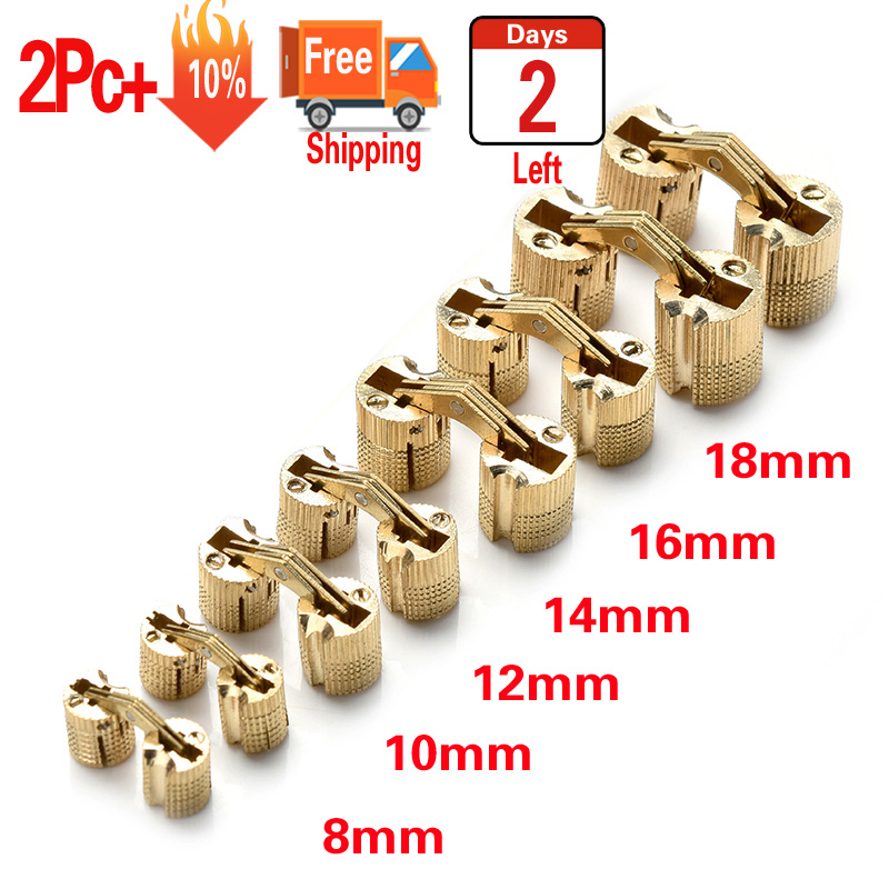 1Pcs  Copper Barrel Hinges Cylindrical Hidden Cabinet Invisible Brass 8mm 10mm 12mm 14mm 16mm 18mm Door Small Box Hinge