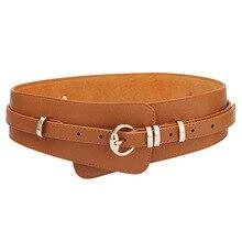 цена на Fashion Luxury ladies wide belt elastic vintage buckle leather wide fashion pin buckle women's belt seal Girdle Female Waist