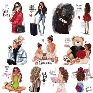 Fashion Lady Thermo Transfer Sticker On Clothes Vogue Girl Iron On Patches For Clothing DIY Washable T-shirt Clothes Sticker Set