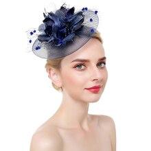 Women Fascinator Hat Elegant Bridal Wedding Derby With Clip Headband Mesh Tea Party Cocktail Flower Hair Accessories Headwear