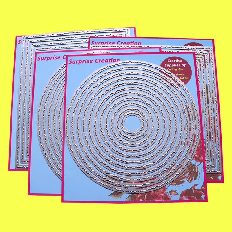 4-набор большой Трафаретный вырубной штамп рваные края прямоугольник квадратная скатерть круг & Овальный открытки, скрапбукинг Бумага реме...