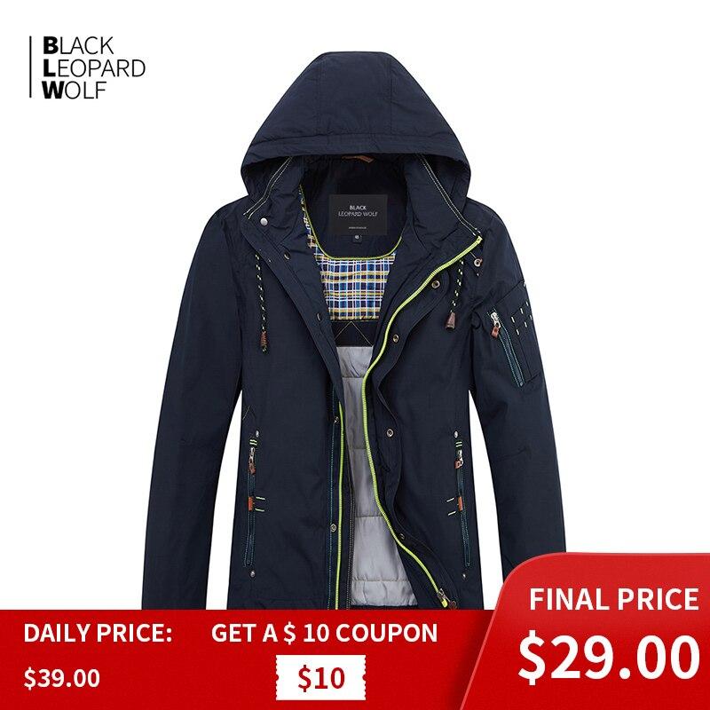 Blackleopardwolf 2019 nova chegada jaqueta de inverno dos homens de algodão fino alta qualidade com um capuz casaco de inverno com zíper MC-17076