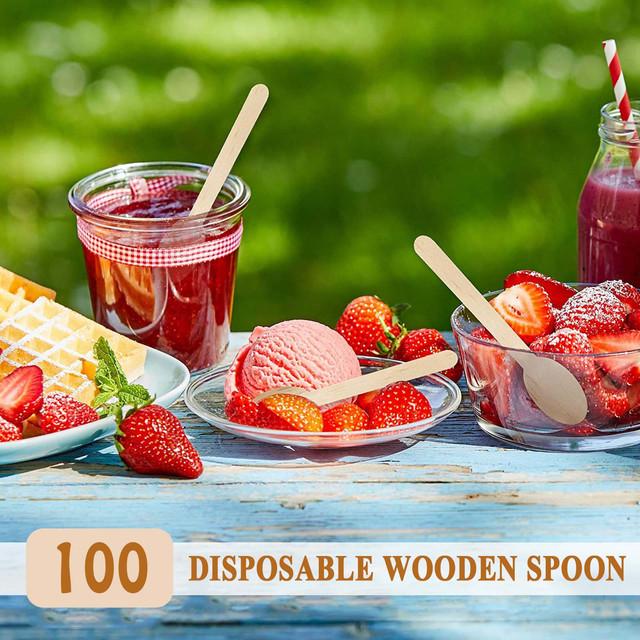 100 sztuk jednorazowa łyżka drewniana naczynia kawy miód łyżeczka do herbaty pitna Scoop zestaw naczynia kuchenne na imprezę Bbq piknik dostaw tanie i dobre opinie CN (pochodzenie) Drewna