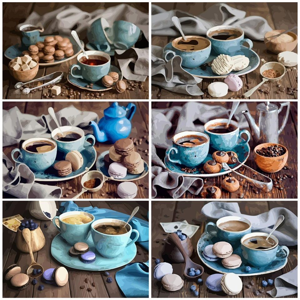 AZQSD Coffee Cake DIY Painting By Numbers Modern Home Wall Art Picture Kits Acrylic Handpainted Oil Painting For Gift 40x50CM
