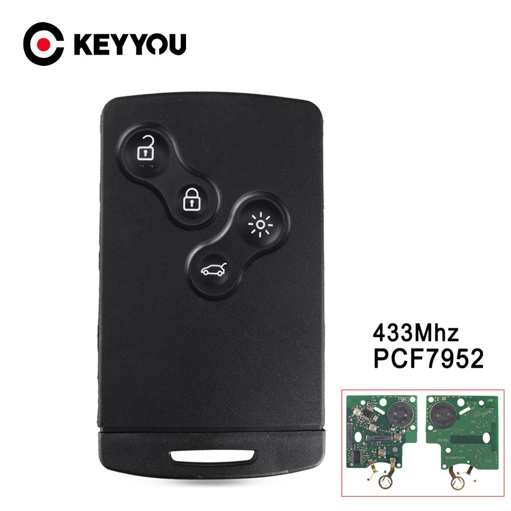 KEYYOU Replacement <font><b>Remote</b></font> Car <font><b>Key</b></font> <font><b>For</b></font> <font><b>Renault</b></font> <font><b>Megane</b></font> Scenic Laguna Koleos Clio PCF7952 Chip 433MHZ 4 Buttons Smart <font><b>Key</b></font> image