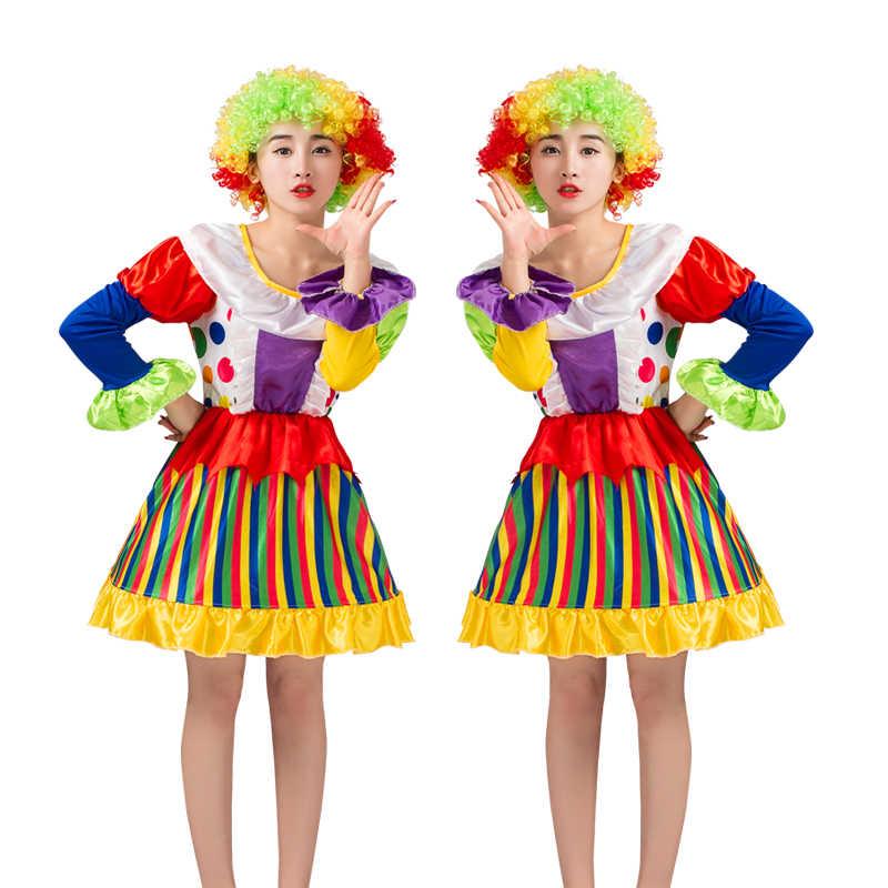 Umorden Halloween Purim di Carnevale Per Adulti Circo Pagliaccio del Costume Delle Donne Jester Costumi Cosplay del Vestito Operato