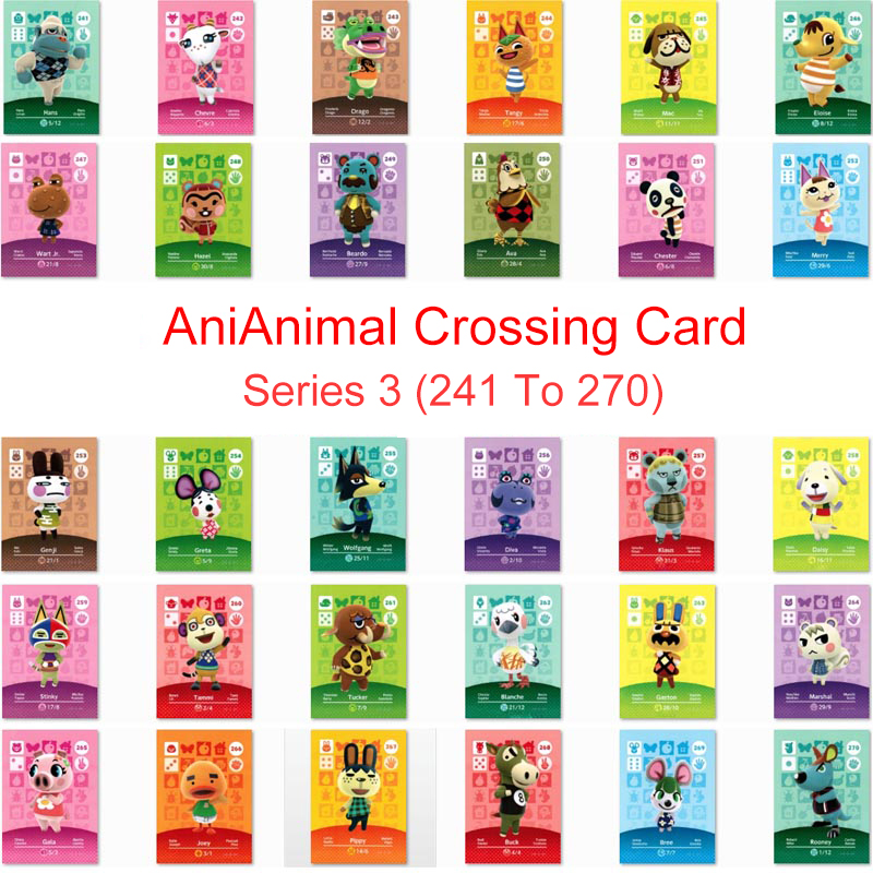 Series 3 (241 to 270) Animal Crossing Card Amiibo Card Work for NS 3DS Switch Game New Horizons Tangy Wolfgang Marshal Card image