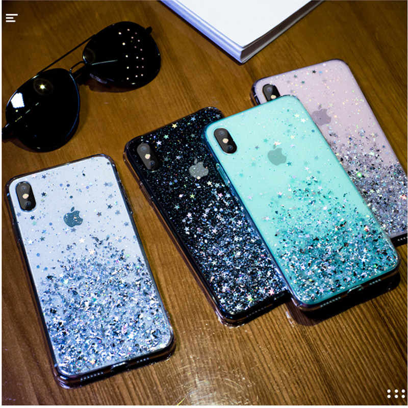Lovecom ラグジュアリーグリッタースタースパンコールケース iphone 11 プロマックス xr xs 最大 6 6 s 7 8 プラス x 透明ソフトフォン裏表紙