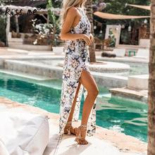 Chiffon Long Beach Wear Dress Sarong Bikini Cover Ups Women Floral Printed Folk Style Summer Holiday Maxi Side Slit Robe