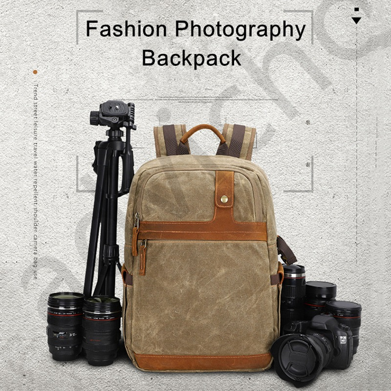 Multifunctional Batik Canvas Camera Backpack Dslr Camera Bag Outdoor Waterproof Large Capacity Travel Photography Bag for Cano image