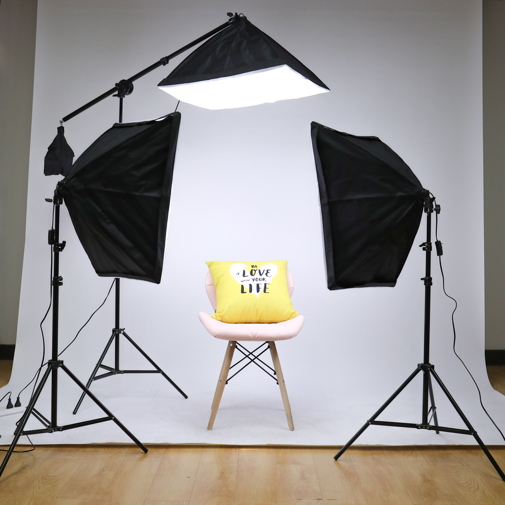 Kit de accesorios de iluminación continua para Softbox de estudio fotográfico profesional con 3 uds. Softbox, LED Blub, soporte para trípode - 5