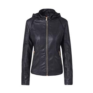 Image 5 - Blouson automne hiver similicuir 2019 de marque Plus velours pour moto, sweat à capuche pour femme
