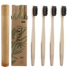 5Pcs Bamboe Houtskool Toothbrushwith Houten Borstel Case Zachte Haren Oral Care Antibacteriële Reizen Tandenborstel Met Opbergdoos