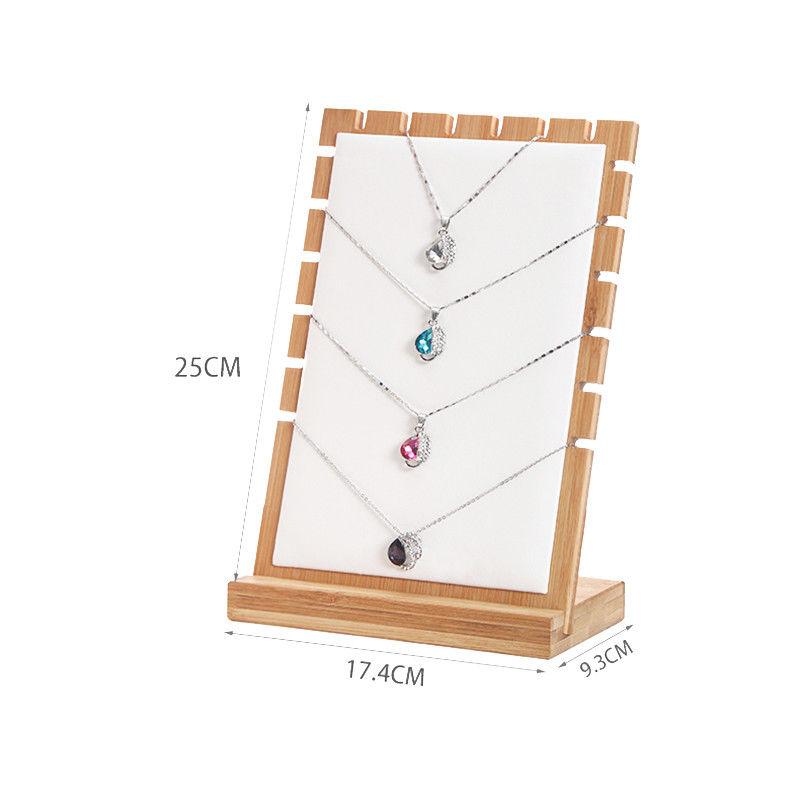 Bamboo Jewelry Pendant Necklace Display Holder Rack Organizer Storage Case