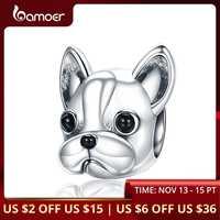 BAMOER 925 argent Sterling fidèles partenaires bouledogue français chien Animal perles ajustement femmes bracelets porte-bonheur chien bijoux à bricoler soi-même SCC315