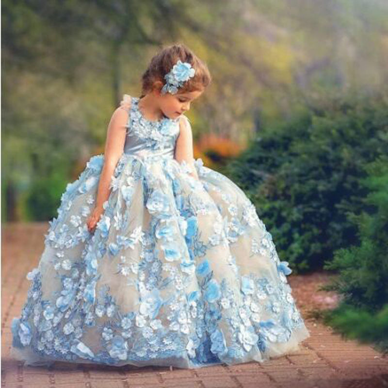 Cap Sleeve Appliques Lace Beading Ball Gown   Flower     Girl     Dresses   Cute Sleeveless O-neck Floor Length Communion Gown