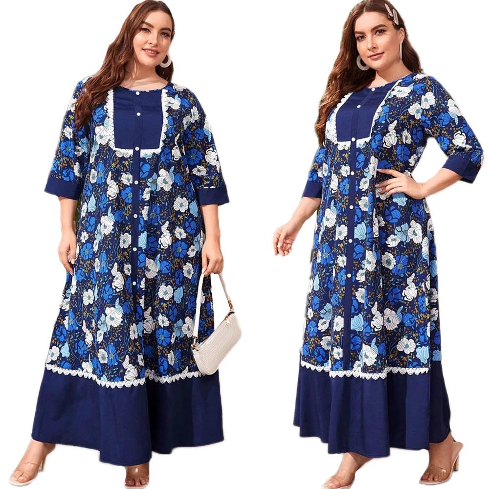 Muslim Abaya Women Print Long Maxi Dress Kaftan Caftan Islamic Party Gown Jilbab