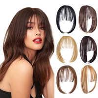 SHANGZI-Peluca de cabello sintético con flequillo, de pelo Natural con flequillo postizo, color negro, marrón claro, alta temperatura