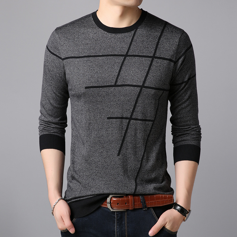 YUSHU New Men's Fashion O-Neck Knit Sweater Long Sleeve Striped Knitted Tops Pullovers Warm Slim Fit Casual Men's Sweater