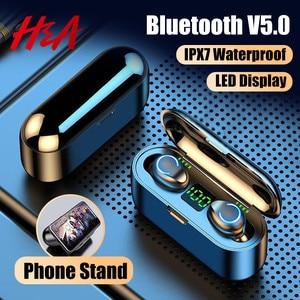 H&A Mini TWS Bluetooth V5.0 Earphones Wireless Headphones Earphones 9D Hifi Sports Waterproof Wireless Earphone Headset Earbuds(China)