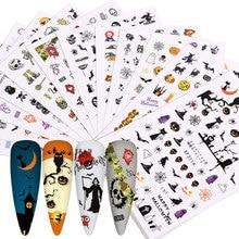 12 Pcs Christmas Halloween Nail Art Watermark Sticker Ins Devil Pumpkin European and American Skull Transfer Nail Art Decals