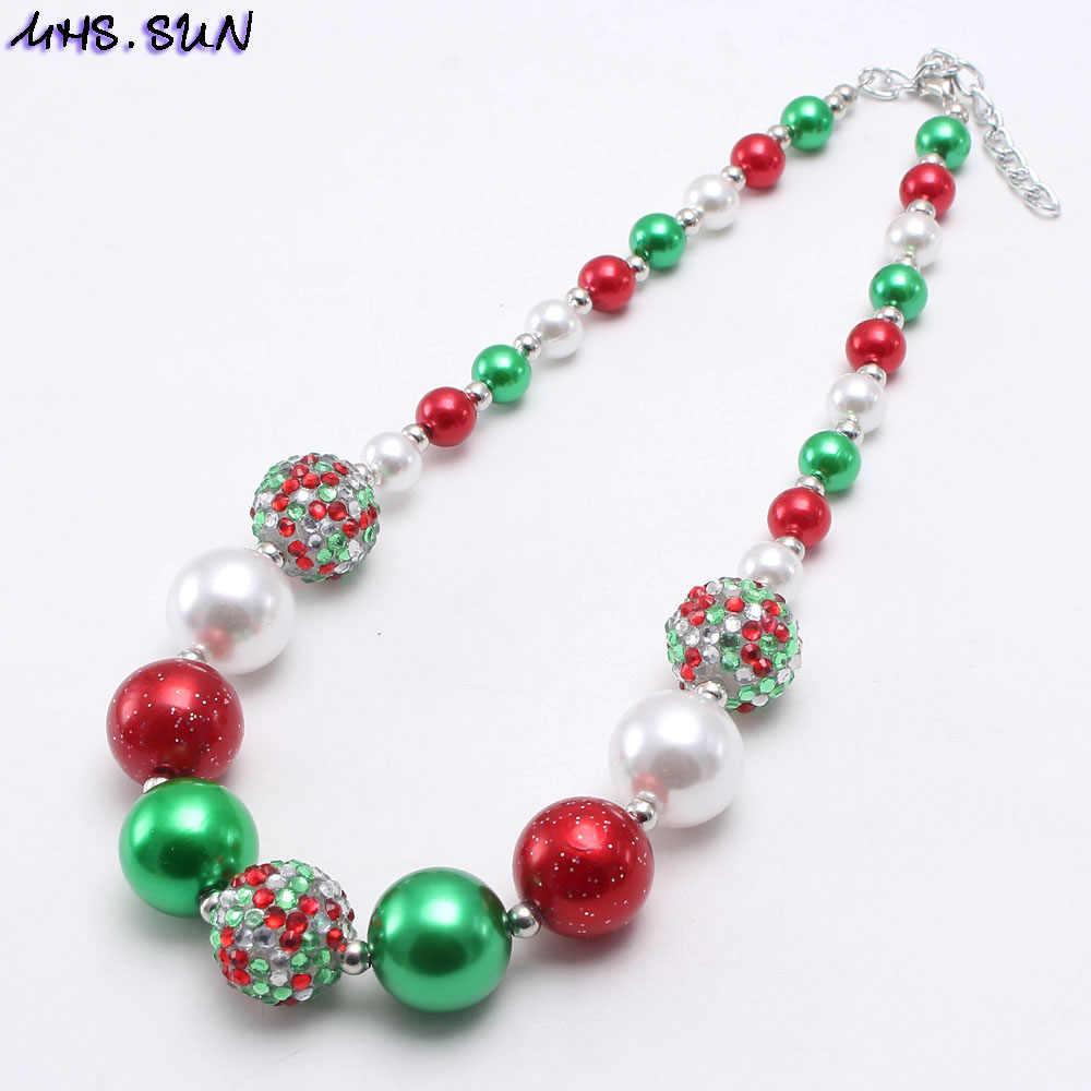 MHS. שמש ילדים חדשים חג המולד חרוזים Neccklace צמיד ילד בנות שמנמן אדום/ירוק חרוזים תכשיטי סט עבור תינוק מסיבת מתנה חם יותר