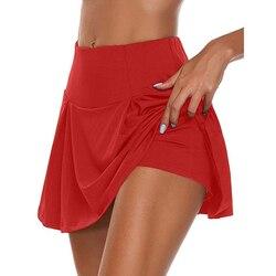 Спортивная Короткая юбка для занятий теннисом и йогой, для фитнеса, для бадминтона, дышащая, быстросохнущая, для женщин, Спортивная, антиэкс...