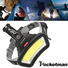 Powerful wide angle COB LED headlight outdoor red light fishing headlamp use 2x18650 battery USB rechargeable head lamp lantern