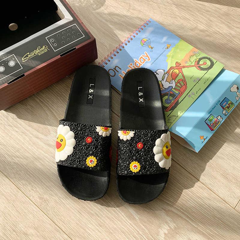 女性スライド pvc ビーチスリッパかわいい村上ひまわりフラットフリップはスリッパファッションカラフルなひまわり模様のホーム靴